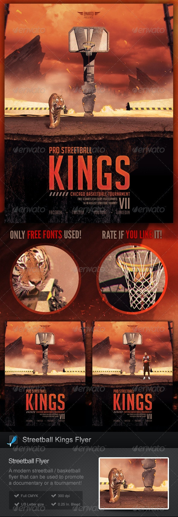 Streetball Kings - Basketball Flyer Template - Sports Events