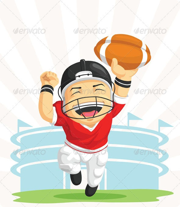 Happy American Football Player - Sports/Activity Conceptual