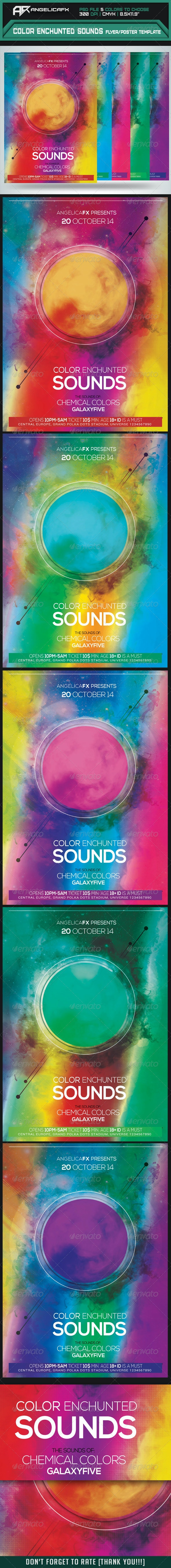 Color Enchunted Sounds Flyer/Poster Template - Flyers Print Templates