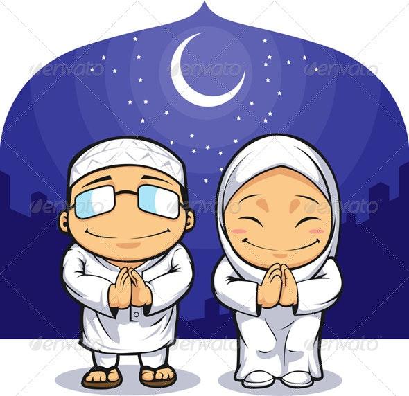 Muslim Man & Woman Greeting - Religion Conceptual