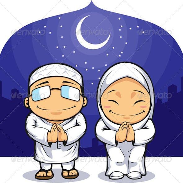 Muslim Man & Woman Greeting