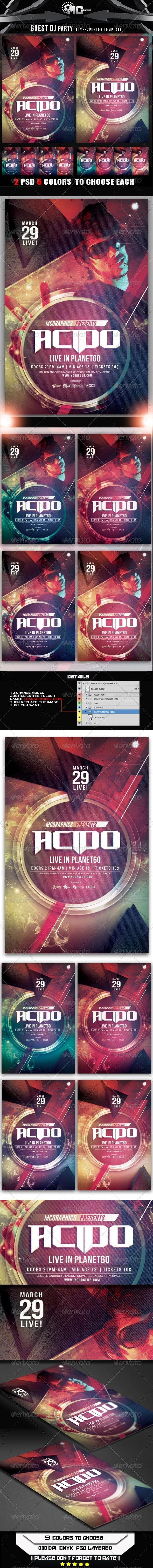 Guest DJ Party Flyer/Poster Template - Flyers Print Templates