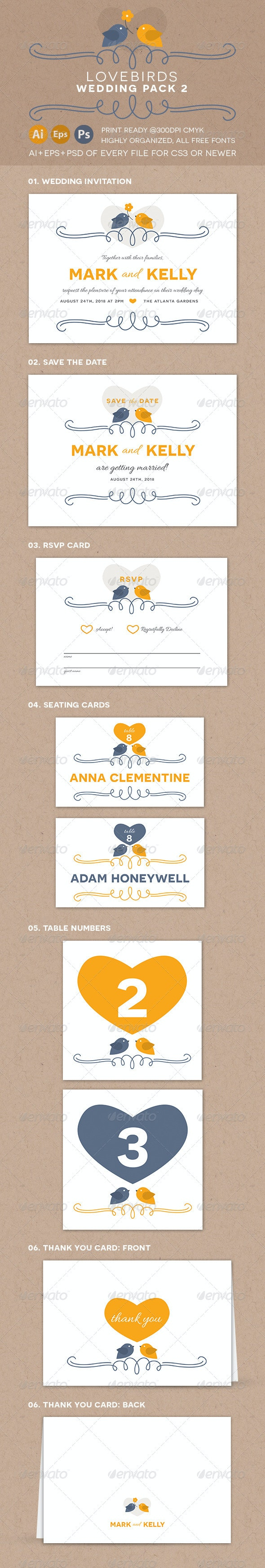 Lovebirds Wedding Pack 2 - Weddings Cards & Invites