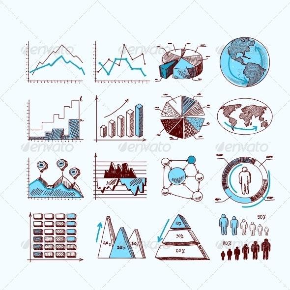 Sketch Business Diagrams - Web Elements Vectors