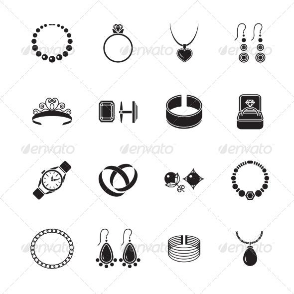 Jewelry Icon Black - Web Technology