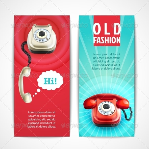 Old Telephone Banners Vertical - Retro Technology