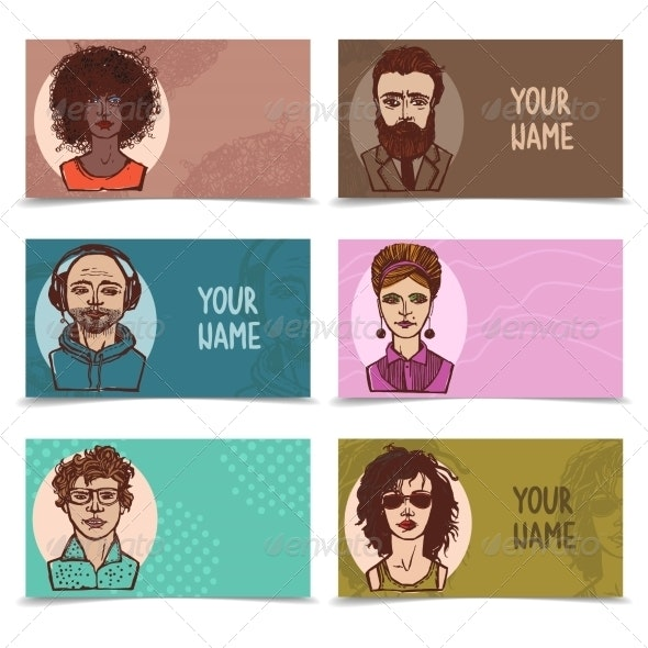 Business Cards with Sketch Faces - People Characters