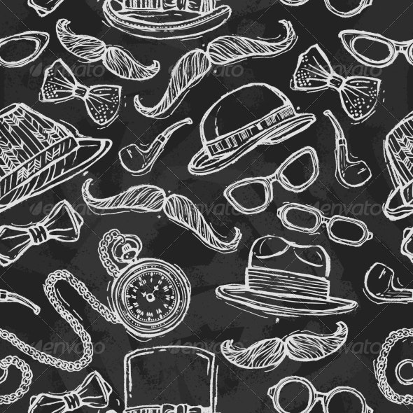Vintage Hats and Glasses Seamless Pattern - Backgrounds Decorative