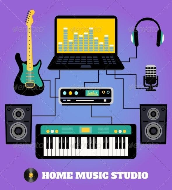 Home Music Studio - Web Elements Vectors