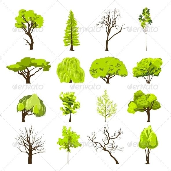 Sketch Tree Icons Set - Decorative Symbols Decorative