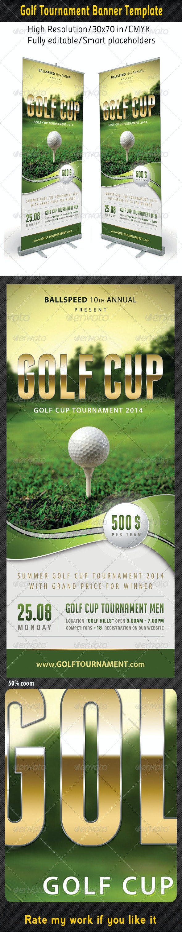 Golf Event Banner Template 01 - Signage Print Templates