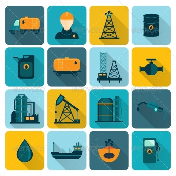 Oil Industry Flat Icons - Technology Icons
