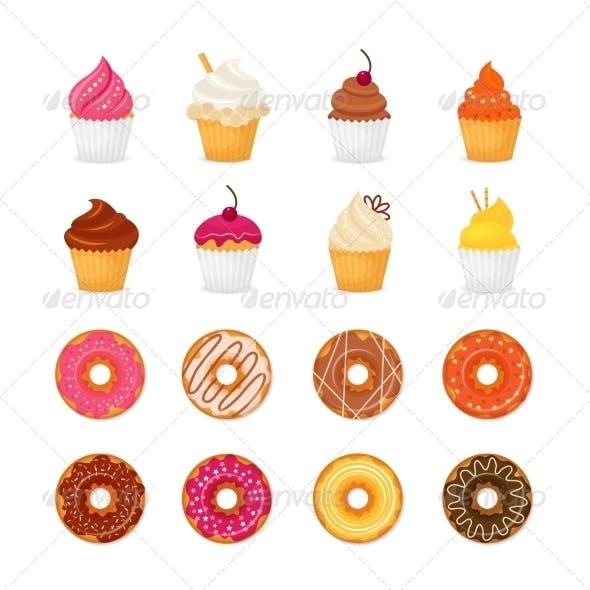 Donut Cupcake Icons