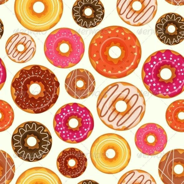 Donut Seamless Pattern - Backgrounds Decorative