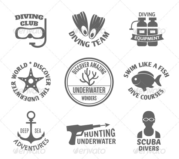 Diving Label Set - Sports/Activity Conceptual