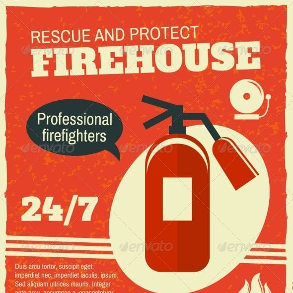Firefighting Retro Poster