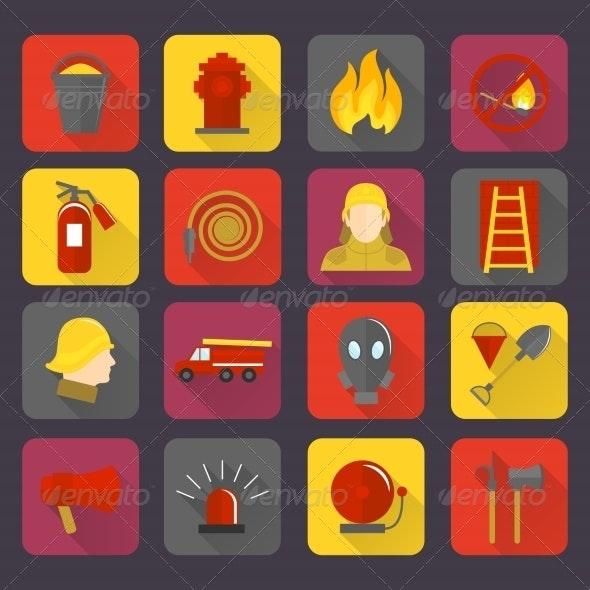 Firefighting Icons Set - Web Technology