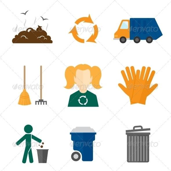 Garbage Icons Flat - Web Technology