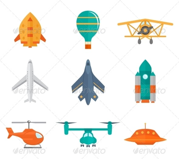 Aircraft Icons Flat - Technology Icons