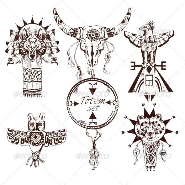 Ethnic American Totems Set - Web Elements Vectors