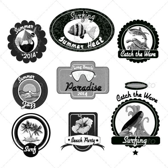 Surfing Emblems Black - Web Elements Vectors