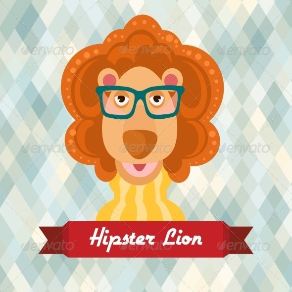 Hipster Lion Poster - Animals Characters