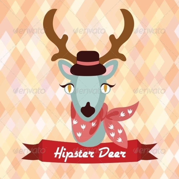 Hipster Deer Poster - Animals Characters