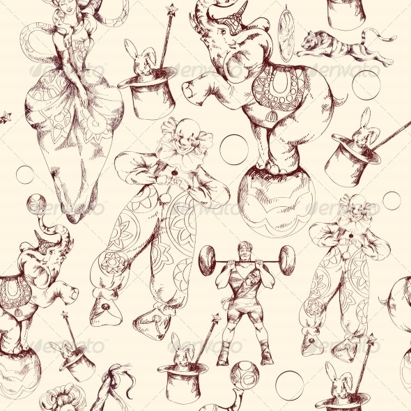 Circus Doodle Sketch Seamless Pattern - Backgrounds Decorative