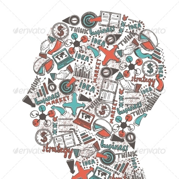 Human Head with Icons - Concepts Business