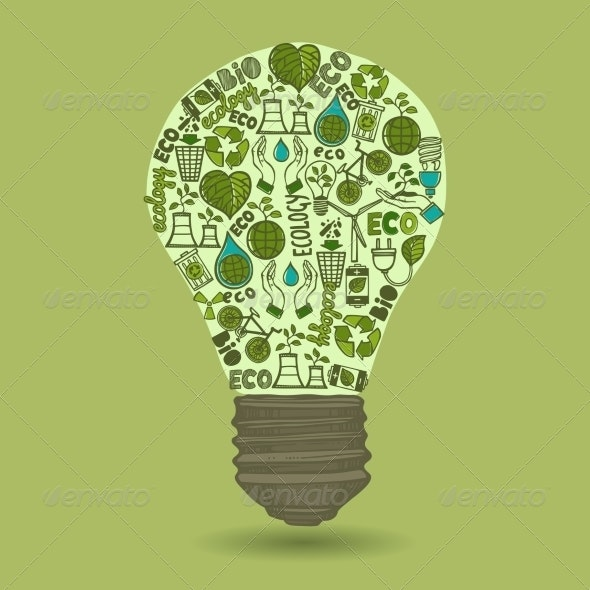 Lightbulb with Sketch Ecology and Waste Icons - Concepts Business