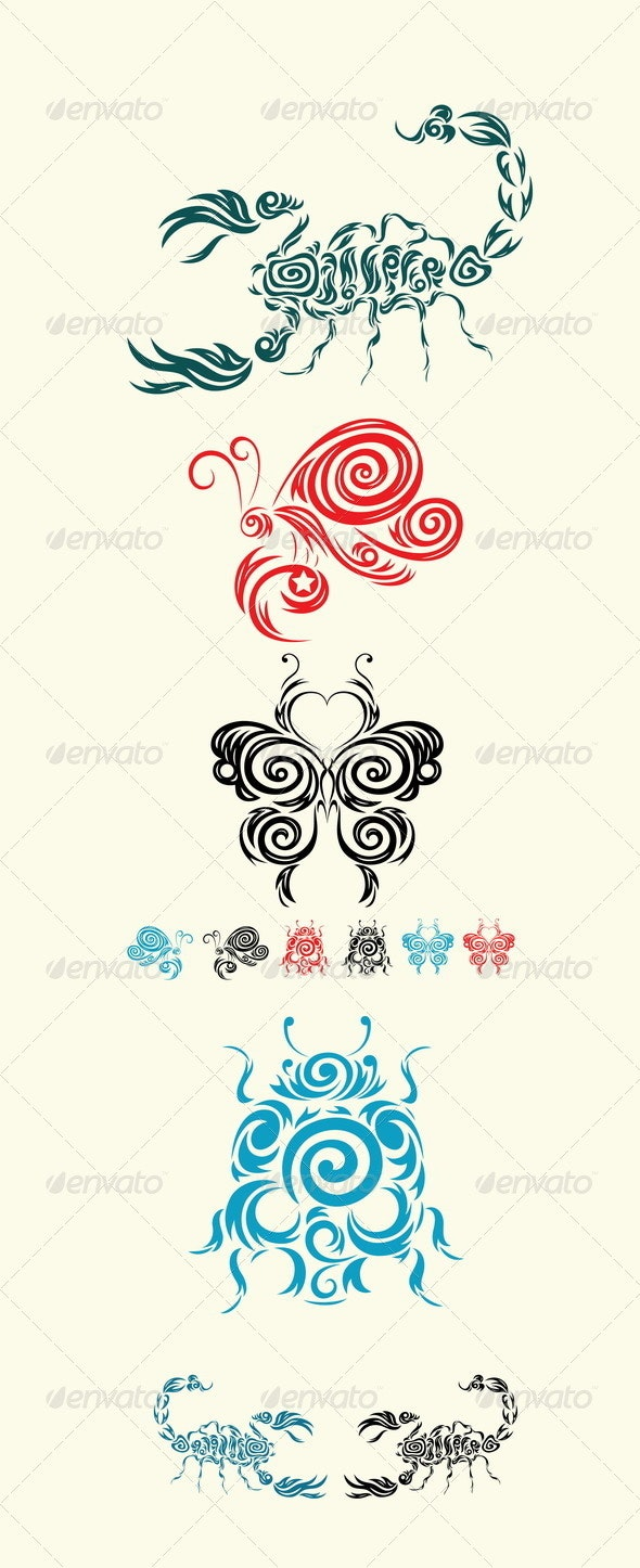 Scorpion, Butterfly and Ladybug