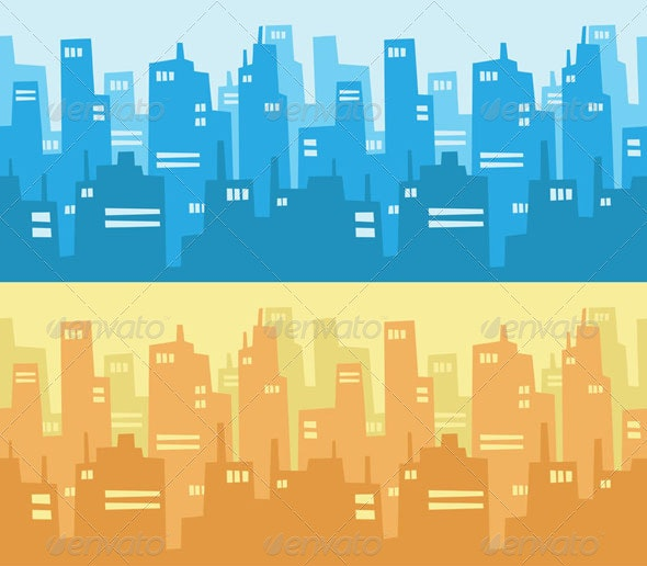 City Skyscraper Silhouette Background - Buildings Objects