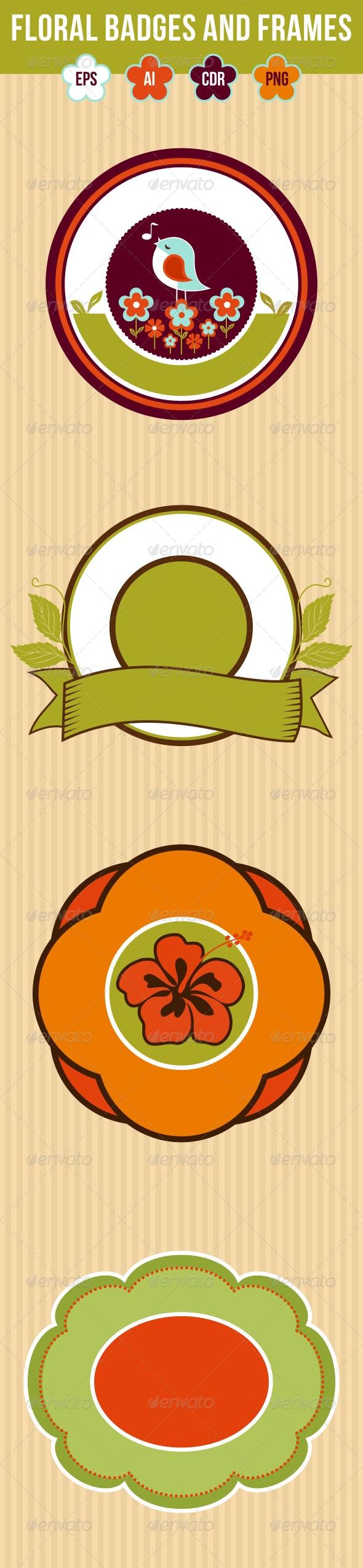 4 Floral Badges and Frames - Miscellaneous Conceptual