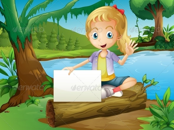 Girl Sitting on Log with Empty Sign - People Characters
