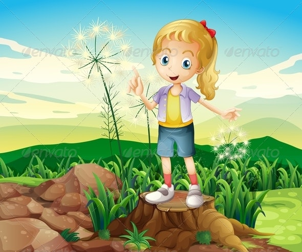 Young Girl Standing in Nature - People Characters