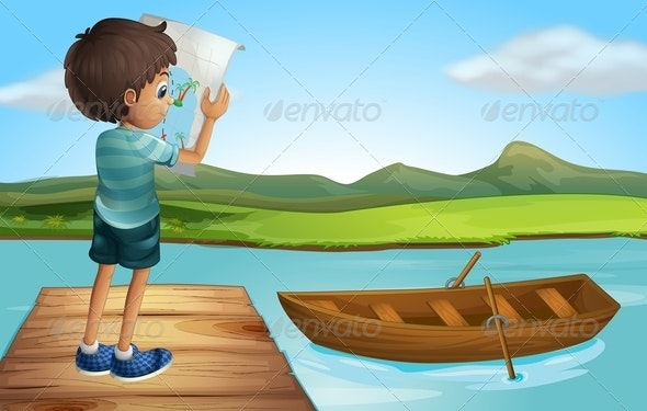 Boy with a Map at the River - People Characters