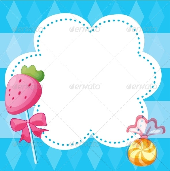 Stationery Template with Candies - Borders Decorative