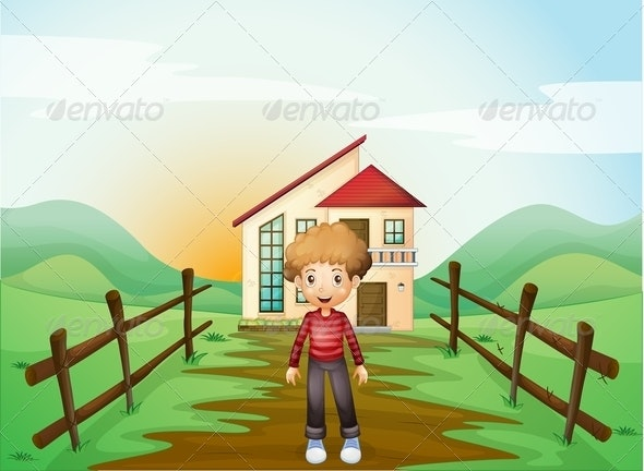 A Boy in Front of the Concrete House on the Hilltop - People Characters