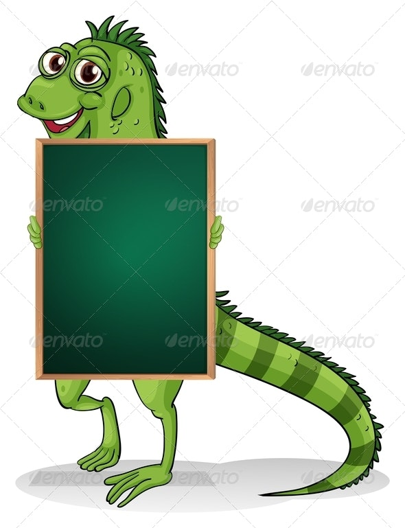 A Greenboard with an Iguana at the Back - Borders Decorative
