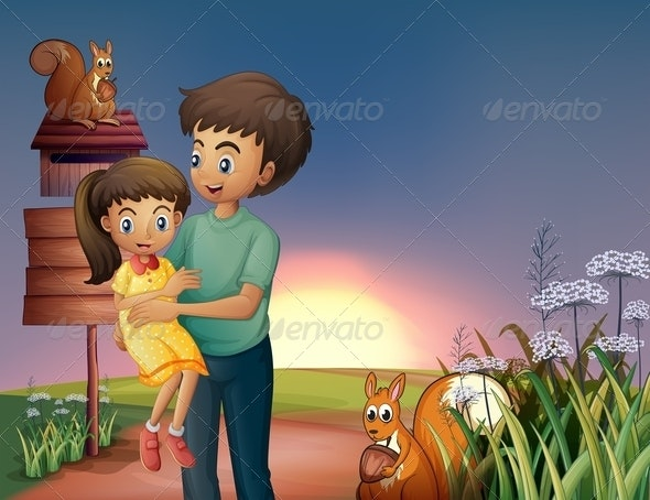 A Father Carrying his Daughter at the Hilltop - People Characters
