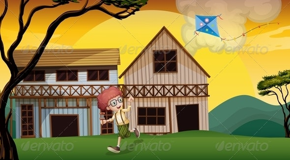 A Boy Playing with his Kite in Front of the Wooden Barn - People Characters