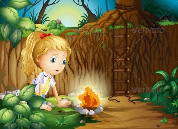A Sad Girl Making A Campfire - People Characters