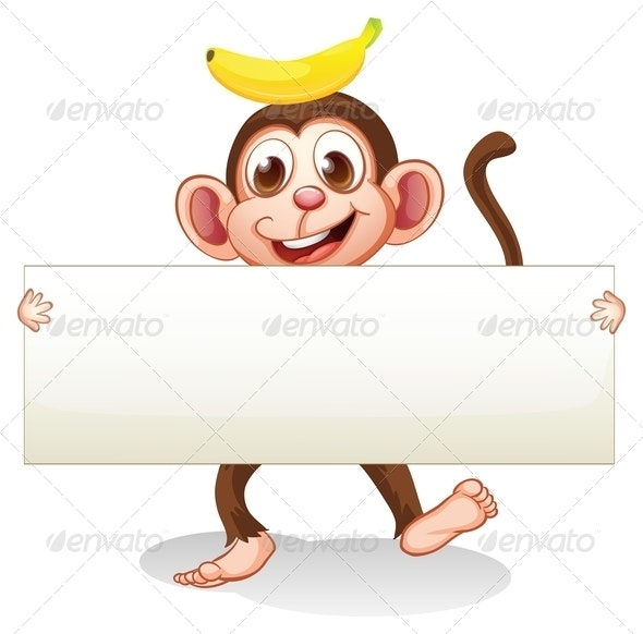 An Empty Signboard with a Monkey at the Back - Borders Decorative