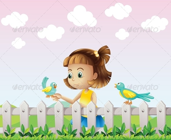 A Young Girl Playing with the Birds near the Fence - People Characters