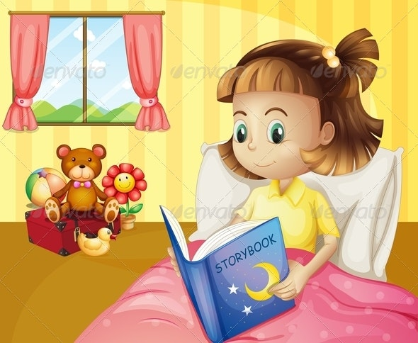 A Small Girl Reading a Storybook Inside her Room - People Characters