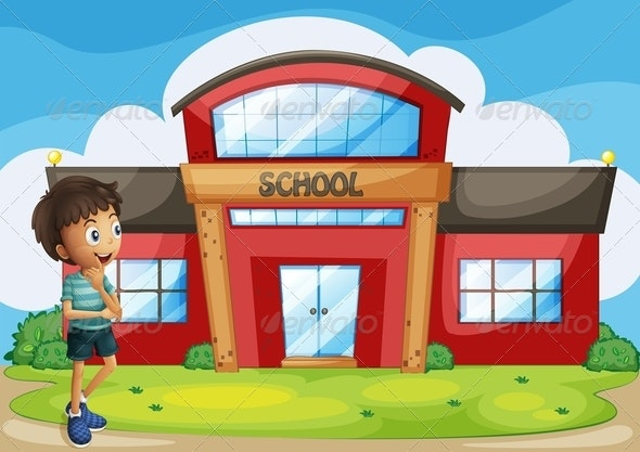 A Boy in Front of the School Building - Buildings Objects