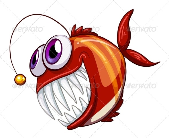 An Ugly Angry Fish - Animals Characters