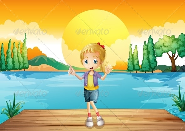 A Young Girl Standing Above the Wooden Diving Board - People Characters