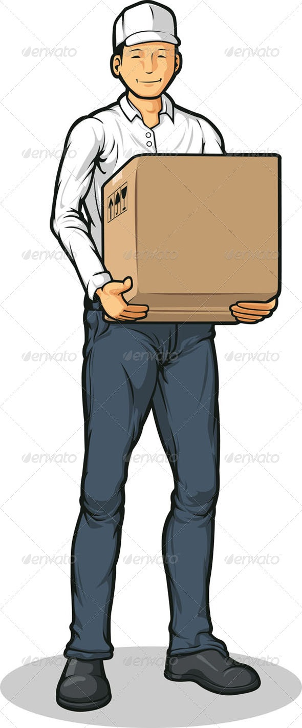 Delivery Man with Box - Services Commercial / Shopping