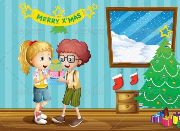 Two Adorable Kids Exchanging their Christmas Gifts - People Characters